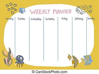 lustiges, tang, karikatur, illustration., underwater, tiere, wöchentlich, vektor, wohnung, style., terminplan, kinder, planer, template., fische, design, gekritzel