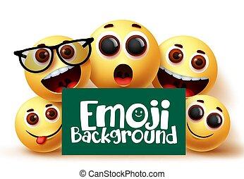 lustiges, vektor, glücklich, emojis, gesichtsbehandlung, emoticons, smileys, hintergrund., ausdrücke, emoji