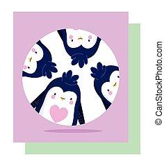 lustiges, vogel, pinguine, karikatur, tier, banner, tierwelt, charaktere, antarktisch