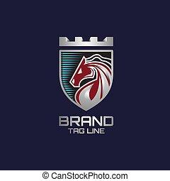 luxus, schutzschirm, logo, 3d, pferd