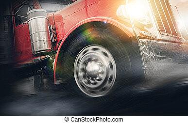 mächtig, regen, lastwagen, schwer , geschwindigkeitsüberschreitung, halb