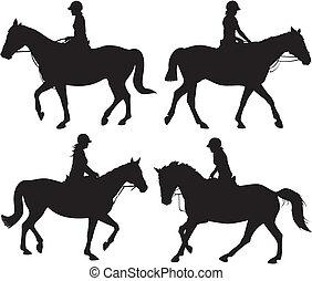 Mädchen auf Pferd - Vektor-Ikone.