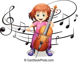 Mädchen, die alleine Cello spielen.