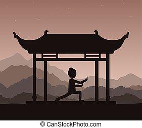 Mädchen, die am Abend Qigong oder Taijiquan-Übungen durchführen.