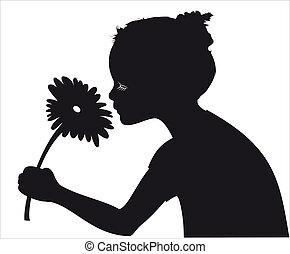 Mädchen, die Blumenvektoren riechen