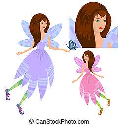 Mädchen-Fee mit Schmetterling