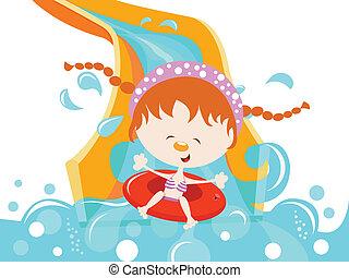 Mädchen genießen Wasserrutsche