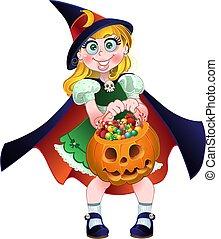 Mädchen halten Kürbis mit Süßigkeiten