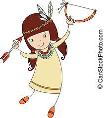Mädchen im Kostüm von Nordindianer