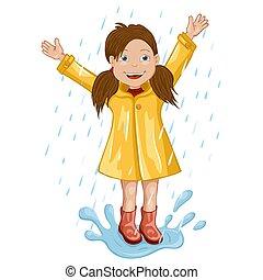 Mädchen im Regenmantel springen und spielen im Regen.