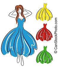 Mädchen in blauem Kleid und Kleider.