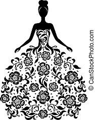 Mädchen in einem Kleid mit Blumenschmuck Silhouette