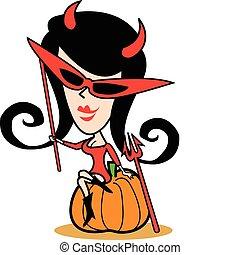 Mädchen in Halloween-Kostüm-Clip-Kunst