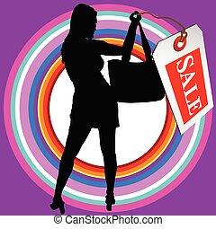 Mädchen in schwarzer Silhouette mit Verkaufsschild