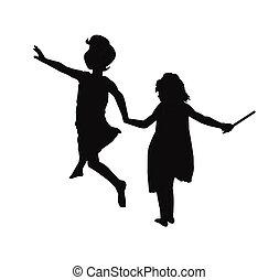 Mädchen in Silhouette