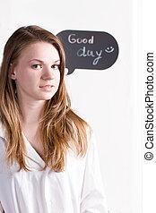 Mädchen in weißem Hemd im Hintergrund der Inschrift einen guten Tag.
