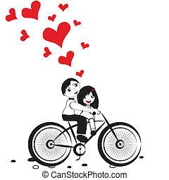 Mädchen-Junge mit rotem Herz für Valentinstagsvektor