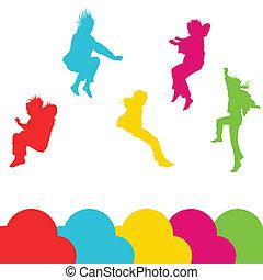 Mädchen, Kinder, die über Vektorsilhouette springen, setzen Hintergrund.