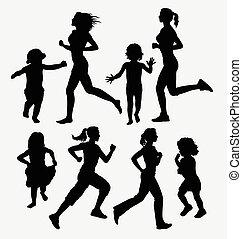 Mädchen, Kinder mit Silhouetten