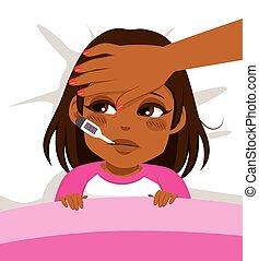 Mädchen krank im Bett.
