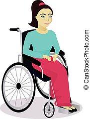 Mädchen mit Behinderungen im Rollstuhl.