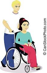 Mädchen mit Behinderungen im Rollstuhl mit Jungen.