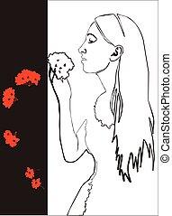 Mädchen mit Blume in schwarz 03.