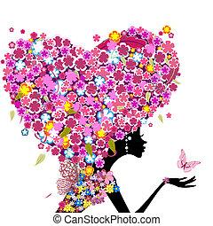 Mädchen mit Blumen auf dem Kopf in Form eines Herzens