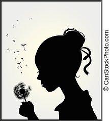 Mädchen mit Dandelion.