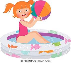 Mädchen mit einem Ball in einem aufblasbaren P.