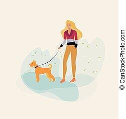 Mädchen mit einem Hund im Park.