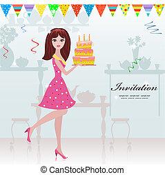 Mädchen mit Geburtstagskuchen für dein Design.