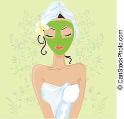 Mädchen mit Gesichtsmaske.