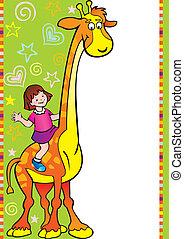 Mädchen mit Giraffe.