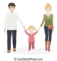 Mädchen mit ihren Eltern, die zur Schule gehen.