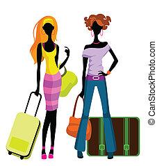 Mädchen mit Koffern