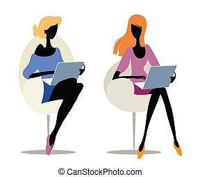Mädchen mit Laptops