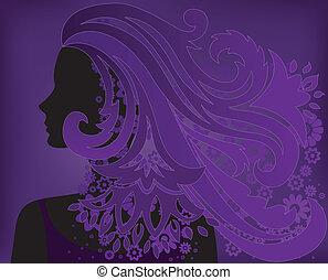 Mädchen mit lila Haarblume