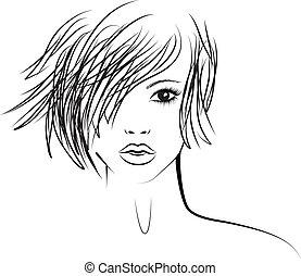 Mädchen mit modischer Frisur, Mode-Illustration