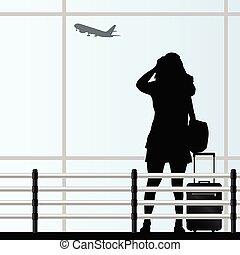 Mädchen mit Reisetasche am Flughafenvektor