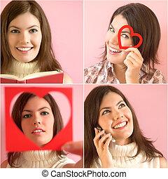 Mädchen mit rosa Hintergrund