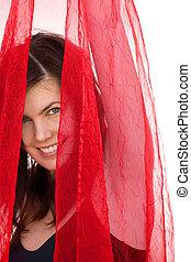 Mädchen mit rotem Schleier