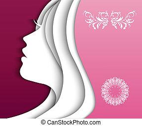Mädchen mit schönen Haaren.