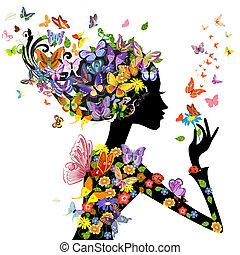 Mädchen-Modelblumen mit Schmetterlingen