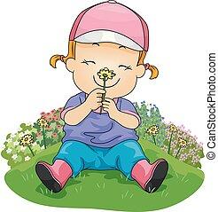Mädchen riechen Blumengarten-Darstellung.