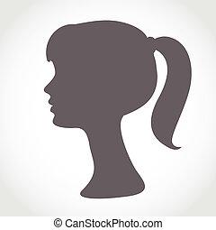 Mädchen-Silhouette isoliert auf weiß. Ein einfaches abstraktes Portrait
