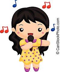 Mädchen singen ein Lied.