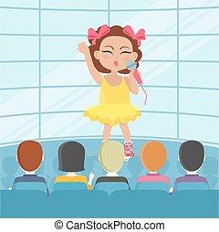 Mädchen singen vor Publikum. Vector