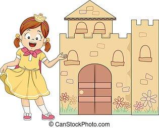 Mädchen spielen Prinzessin Willkommen Mini-Schloss.