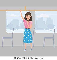 Mädchen Teenager sieht in Smartphone in öffentlichen Verkehrsmitteln, Hinterstadt, Vektor, Illustration, Cartoon Stil, isoliert.